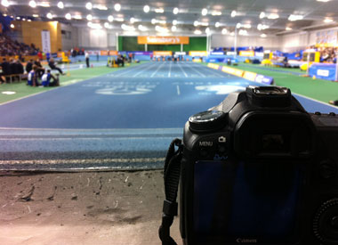 My photographer's eye view of the end of the sprint track.