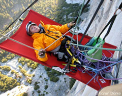 This is Karen climbing El Capitan, one of the hardest climbs in the world...