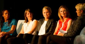 #BeAGameChanger panel Netball's Pamela Cookey, Rugby's Katy McLean, football's Steph Houghton, cricketer Charlotte Edwards and compere Alice Arnold