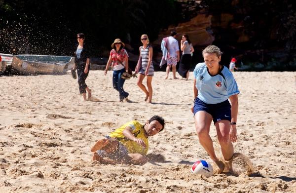 Beach football girl STK_225793630