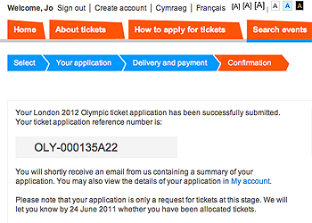 Olympic ticket applic