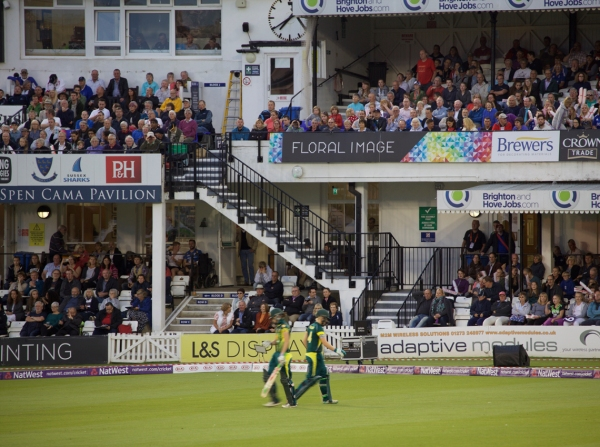 Skittling the Aussies back to the clubhouse to the likes of 'Hit the Road Jack', for a very gettable 107-7. Game on.