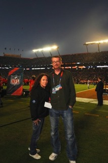 Pic 02 On field with Hamish first Super Bowl we did Miami 2010 The Who