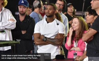 Pic 05 Watching rehearsals tape to go through notes with Usher at VMAs 2014