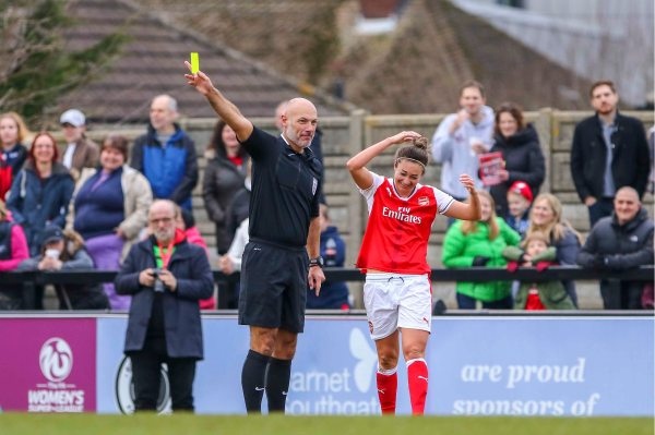 Kelly Smith Yellow card laughing